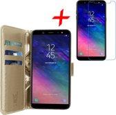 Hoesje voor Samsung Galaxy A6 (2018) Book Case met Pasjeshouder Goud + Screenprotector Tempered Gehard Glas - Wallet van iCall