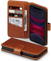 iPhone 11 Bookcase hoesje - CaseBoutique - Effen Cognac - Leer