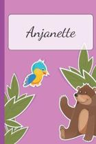 Anjanette: Personalized Name Notebook for Girls - Custemized with 110 Dot Grid Pages - A custom Journal as a Gift for your Daught