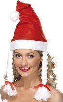 Kerstmuts met witte vlechten