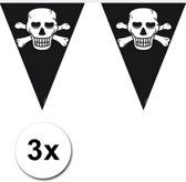 3x Piraten vlaggenlijn / slinger zwart