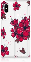 iPhone Xs Max Standcase Hoesje Design Blossom Red