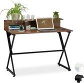 relaxdays bureau met vakken - computertafel - laptoptafel - 90 x 110 x 55 cm - tafel Hout / zwart