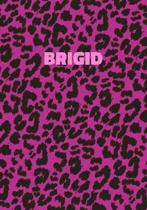 Brigid: Personalized Pink Leopard Print Notebook (Animal Skin Pattern). College Ruled (Lined) Journal for Notes, Diary, Journa