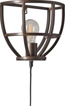 Industriële wandlamp zwart metaal met schakelaar