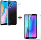 Huawei P30 Lite Hoesje Transparant TPU Siliconen Soft Case + Tempered Glass Screenprotector
