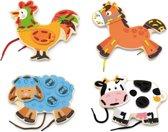 Viga Toys - Rijgspel - Boerderijdieren - 4 stuks
