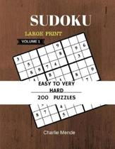 Sudoku Large Print Easy to Very Hard 200 Puzzles Game Book Volume1