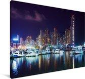 De horizon van de stad van Panama Canvas 90x60 cm - Foto print op Canvas schilderij (Wanddecoratie woonkamer / slaapkamer)