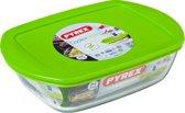 Pyrex Cook & Store Schaal Rechthoek - Inclusief Deksel - Borosilicaatglas - 1,1 liter - Transparant
