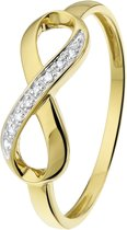 Lucardi 14 Karaat Geelgouden Ring - Met Diamant Infinity - Maat 55