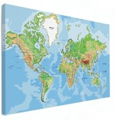 Wereldkaart op canvas wanddecoratie groot 120x80 cm | Wereldkaart Canvas Schilderij