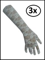 3x Paar handschoen kant lang wit
