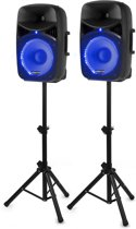 Vonyx VPS122A geluidsinstallatie actief / passief 800W Bluetooth met blauwe LED's, standaards, microfoon en kabels