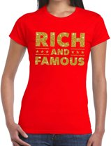 Rich and Famous goud glitter tekst t-shirt rood voor dames L
