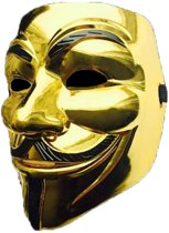 Gouden V for Vendetta Masker / Gouden Anonymous Masker / Gouden Guy Fawkes Masker
