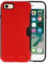 Rood Tough Armor Kaarthouder Stand Hoesje iPhone 7 / 8