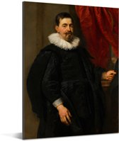 Portret van een man mogelijk Peter van Hecke - Schilderij van Peter Paul Rubens Aluminium 120x160 cm - Foto print op Aluminium (metaal wanddecoratie) XXL / Groot formaat!