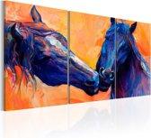 Schilderij - Blauwe Paarden , 3 luik