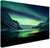 Ongelooflijke noorderlicht in Noorwegen Canvas 30x20 cm - klein - Foto print op Canvas schilderij (Wanddecoratie woonkamer / slaapkamer)