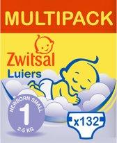 Zwitsal Maandbox Maat 1 (Newborn Small) 2-5 kg Luiers - 132 stuks