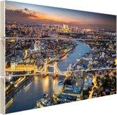 De skyline van London Hout 80x60 cm - Foto print op Hout (Wanddecoratie)
