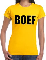 Boef tekst t-shirt geel dames - dames shirt Boef 2XL