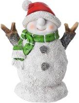 Sneeuwpop beeldje met shawl 10 cm