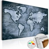 Afbeelding op kurk - Sapphire World , wereldkaart, Blauw, 3 Maten, 1luik