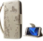 Book Case Hoesje Bloemen Samsung Galaxy S7 - Goud