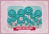 Fotobehang Snoepjes | Roze, Turquoise | 416x254