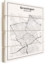 Stadskaart - Groningen vurenhout 60x80 cm - Plattegrond