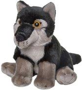 54f00d317deef5 Pluche zwarte wolf knuffel 18 cm - Wolven wilde dieren knuffels - Speelgoed  voor kinderen