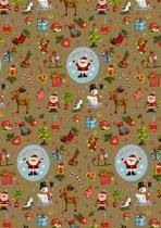 Goudkleurig kerst cadeaupapier inpakpapier Kerstfiguren - Toonbankrol breedte 70 (breedte rol)cm - 200m lang - K691780/3-8-70cm