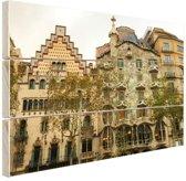 Architectuur van Gaudi Hout 30x20 cm - Foto print op Hout (Wanddecoratie)