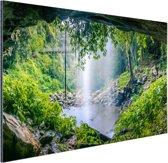 Foto van regenwoud met waterval Aluminium 30x20 cm - Foto print op Aluminium (metaal wanddecoratie)