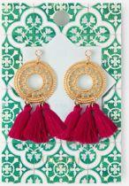 Orelia oorbellen - filigree rondje met 3 roze kwastjes - goudkleurig - 7 cm