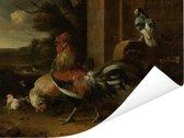 Hoenderhof - Schilderij van Melchior d'Hondecoeter Poster 40x30 cm - klein - Foto print op Poster (wanddecoratie woonkamer / slaapkamer)