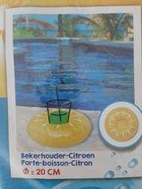 20cm Opblaasbare Bekerhouder Citroen voor je glas of blikje voor in het zwembad ,DS