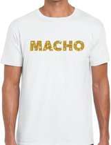 Macho goud glitter tekst t-shirt wit voor heren - heren shirts XL