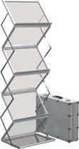brochurehouder van geanodiseerd aluminium en poeder gecoat staal A3 formaat silver