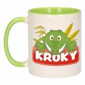 1x Kroky beker / mok - groen met wit - 300 ml keramiek - krokodillen bekers