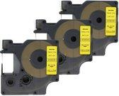 3x D1 standaard labels Dymo 45808 Zwart op geel / 19mm x 7m / Compatibele met Dymo LabelWriter 450 Duo