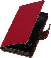 Sony Xperia Z5 Compact Roze   Echt lederen bookstyle / book case/ wallet case Hoes    WN™