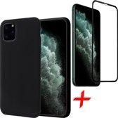 iPhone 11 Pro Hoesje + Screenprotector Full Screen - Liquid Soft Siliconen Case - iCall - Zwart