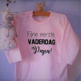 Baby Rompertje tekst dochter meisje eerste Vaderdag cadeau   fijne eerste Vaderdag papa   lange mouwen   roze   maat 50-56   mooiste cadeautje kind cadeautje liefste lief leukste mijn is de allerbeste best