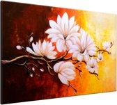 Schilderij handgeschilderd Bloemen   Bruin , Oranje   120x70cm 1Luik