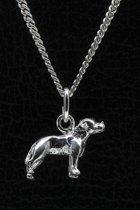 Zilveren Staffordshire bull terrier oren gecoupeerd ketting hanger - klein