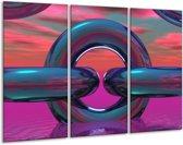 Glasschilderij Abstract | Paars, Blauw | 120x80cm 3Luik | Foto print op Glas |  F001465