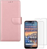 Nokia 3.2 Portemonnee hoesje Rose Goud met 2 stuks Glas Screen protector
